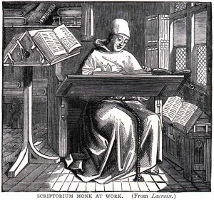 Medieval monk working at a desk