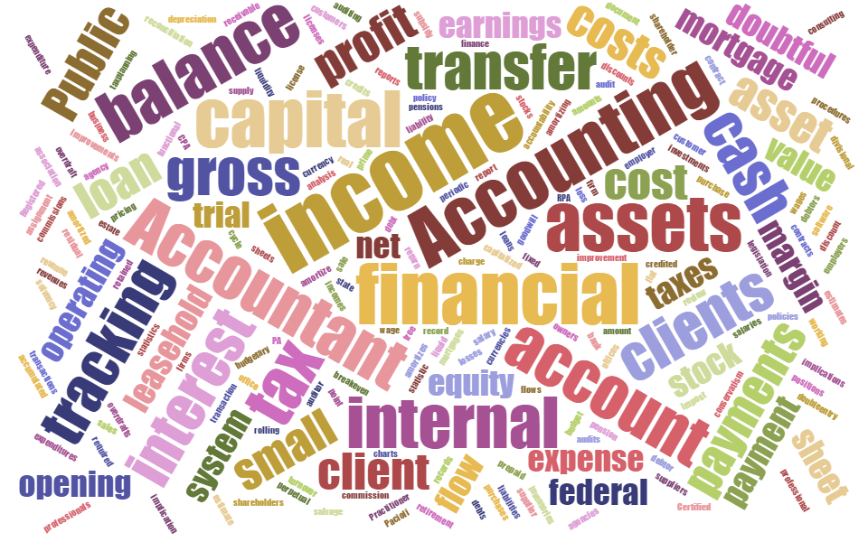 Accounting vocabulary word cloud