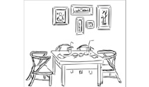 Line art illustration of objects on a table and frames on a wall.