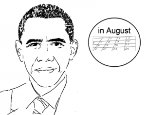 "Line art illustration of Barack Obama and the words ""in August"" next to his head"
