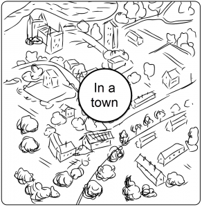 Line art illustration of a village or town represented within a round square