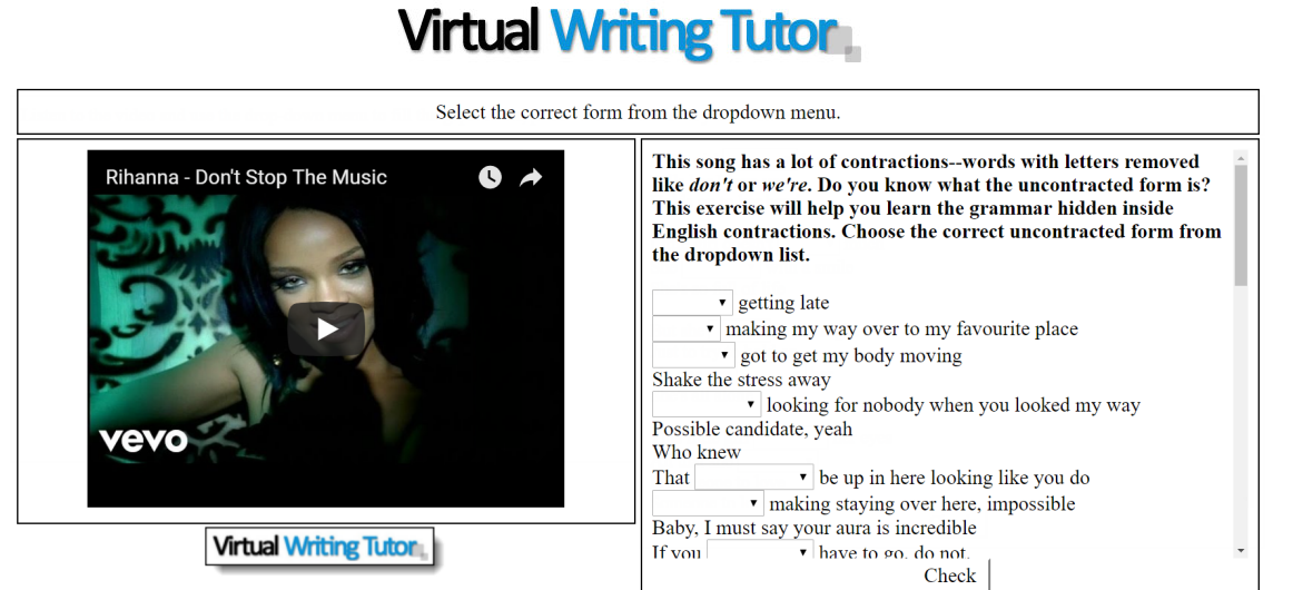 Learn contractions with Rihanna's Don't Stop the Music