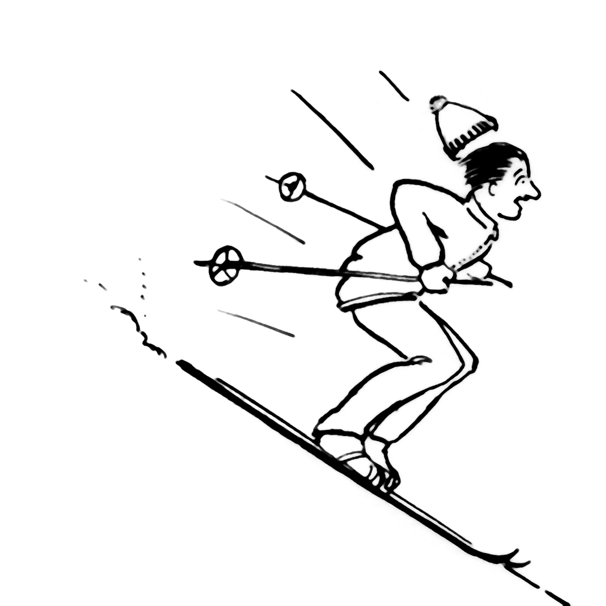 Line drawing of a man skiing