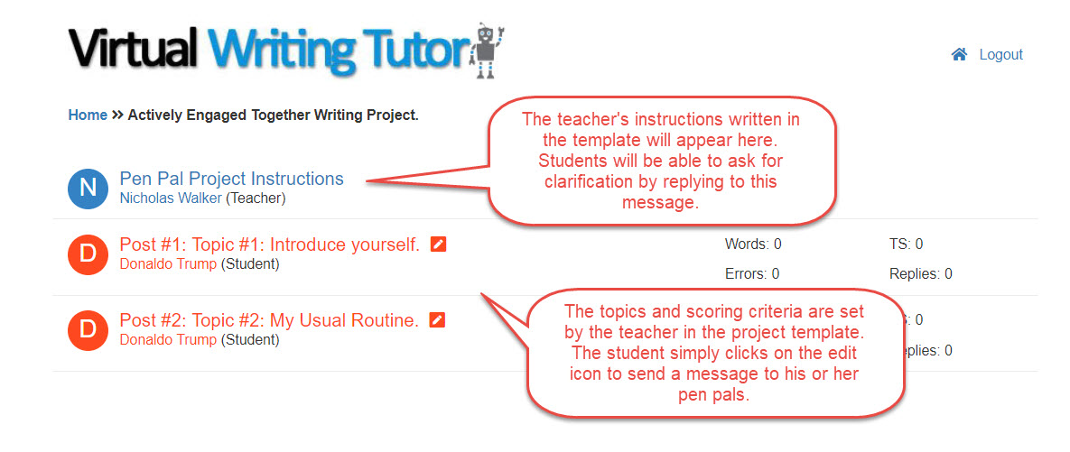 Pen Pal Exchange Project - Virtual Writing Tutor Blog