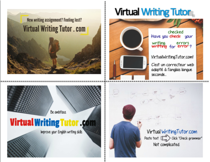 Postcards that promote the Virtual Writing Tutor
