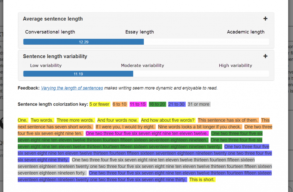 Average sentence length, sentence variability, and sentence colorization