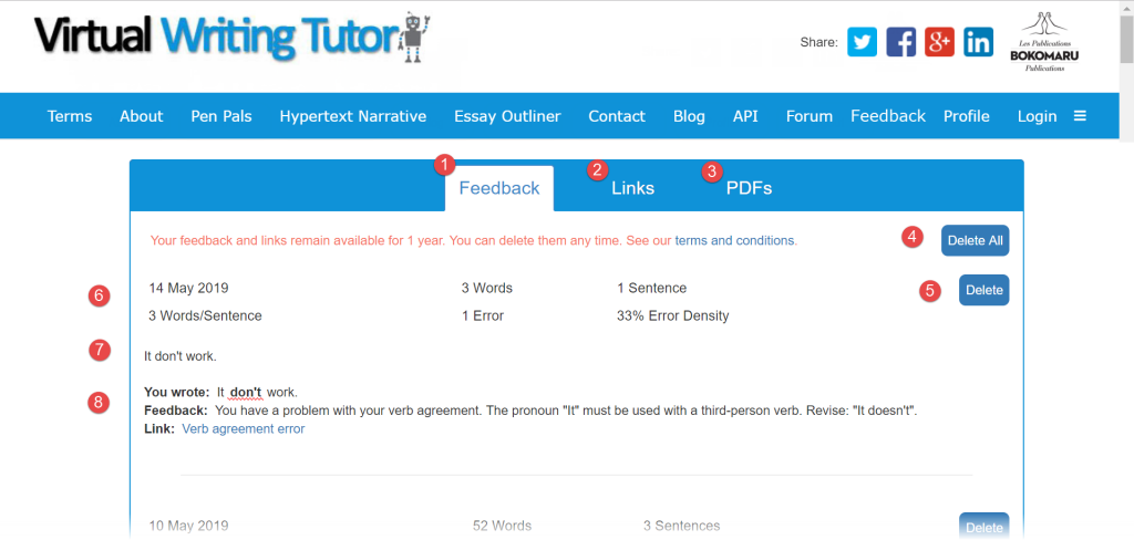 Grammar checker feedback, saved texts and links