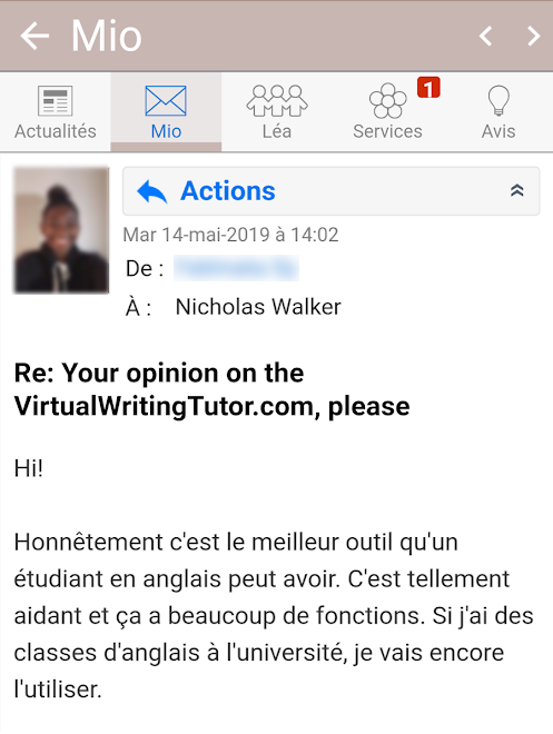 Grammar checker testimonial from a college student in Montreal, Canada