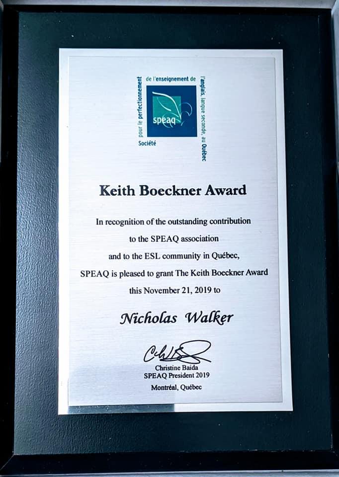 Keith Boeckner Award 2019