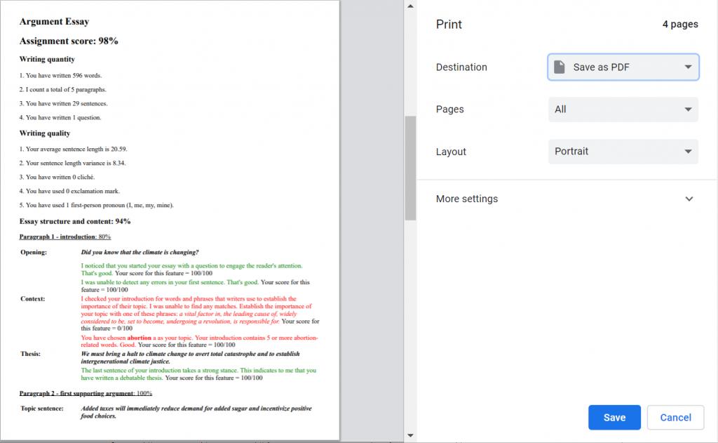 Sace or print your automatically generated essay feedback and score