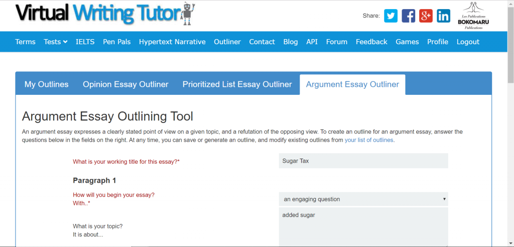 Argument Essay Outlining Tool