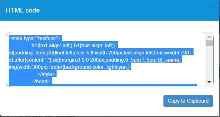 Glossary  HTML code generator and export